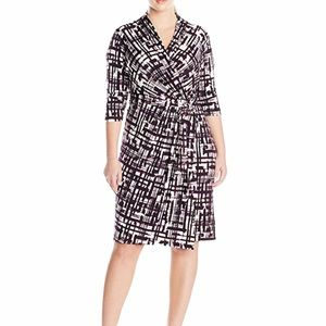 Eliza J 16W Faux Wrap Belted Dress